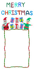 rope border christmas card made from plasticine