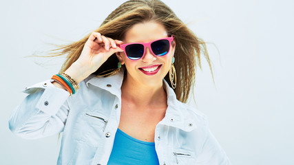Smiling fashion model in funky style.