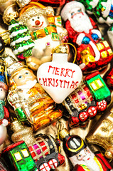 christmas baubles, toys and ornaments. retro style toned picture