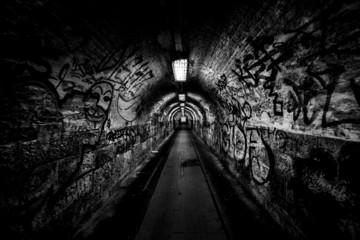 Dark undergorund passage with light Wall mural
