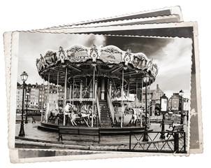 Fototapete - Old black and white photos, Vintage photos Old wooden carousel