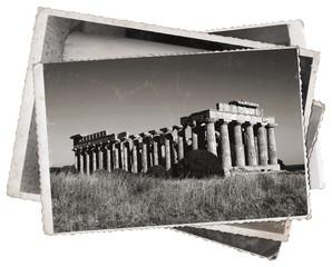 Fototapete - Black and white photos, Vintage photos Greek temple