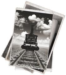 Fototapete - Vintage photos Old locomotive