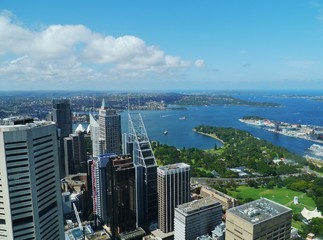 View of Sydney harbour and the central business centre