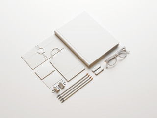 Set of white elements on white paper background