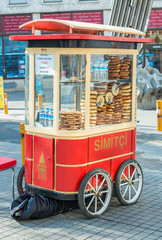 ISTANBUL - SEP 15: Cart with simits (Turkish bagels) in Istanbul