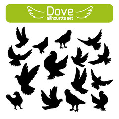 silhouettes of doves