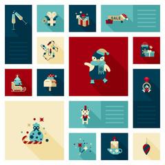 Flat modern style Christmas decoration elements icon set