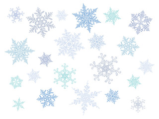 cold crystal gradient snowflakes - vector set