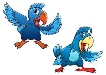 Cute blue cartoon parrot birds