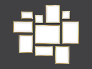 Set of golden frames, vector illustration