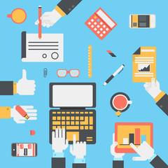Flat style modern business technology desktop hands icon set