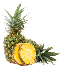 Pineapple and half of pineapple isolated