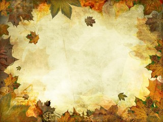 autumn leaves melancholy vintage background Wall mural