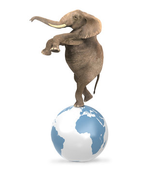 Elephant balancing on a world