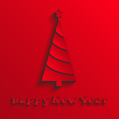 Abstract paper Christmas tree, red New Year card