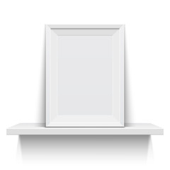 Realistic picture frame on white shelf