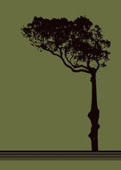 Tree vector design over olive background