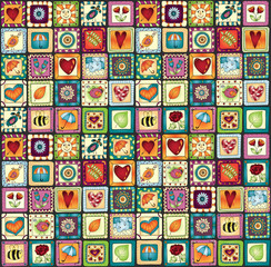 Seamless pattern original drawing doodle hearts.