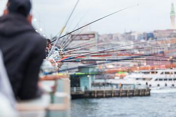 Fishing poles on Galata Bridge in Istanbul