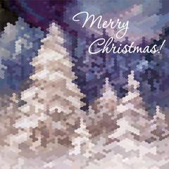 Elegant Christmas card with winter landscape