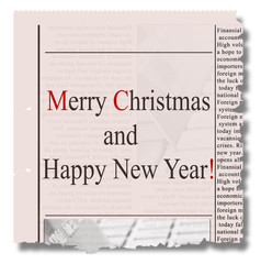 Merry christmas  and happy new year  newspaper