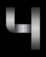rectangular bent metal font, number 4