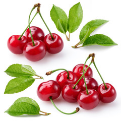 Fototapete - Cherry. Berries with leaves isolated on white