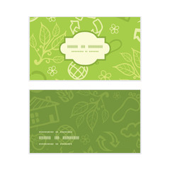 Vector environmental horizontal frame pattern business cards set