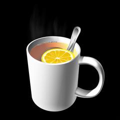 mug of tea with a slice of lemon