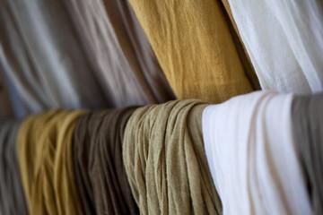 Cotton scarves on a shelf