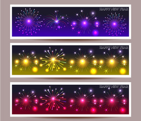 banner set of happy new year
