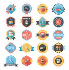 Kitchenware badge flat banner design background set, eps10