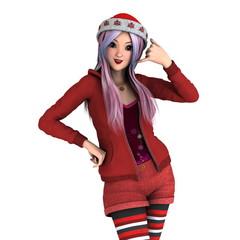 サンタクロース帽子の女性