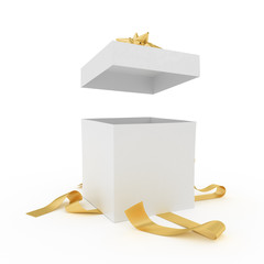 Big unpacked gift box with golden ribbon isolated on white