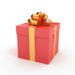 Packed gift box with ribbon - 3D rendered image