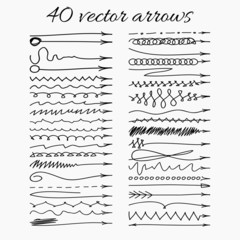 Set of 40 vector hand-drawn arrows.