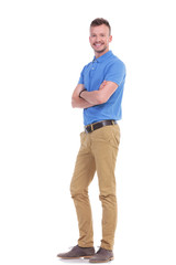 Fototapeta casual young man with hands folded