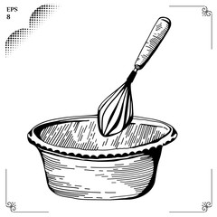 Whisk. Culinary whipped methods.