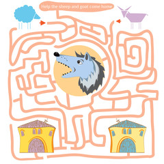 Funny labyrinth. Help the sheep and goat come home.