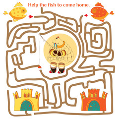 Funny labyrinth. Help the fish to come home. Illustration with t