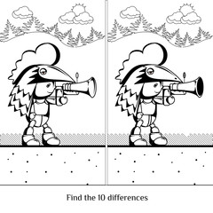 Cute cartoon boy. Character with a gun. Find ten differences vis