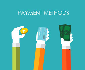Payment Methods Flat Concept Vector Illustration