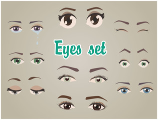 eyes set fun cartoon for character and animation