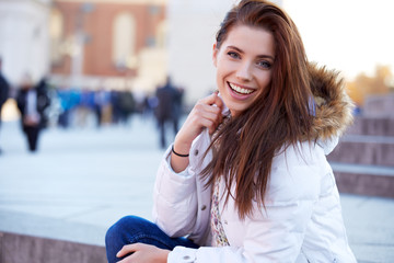 beautiful young woman smiling in winter time