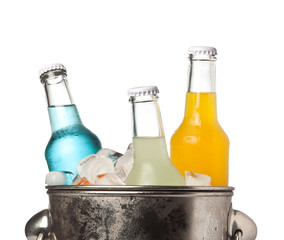 Bottles of soda and ice in a bucket