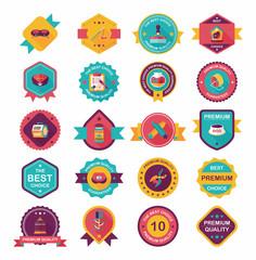 Obraz Pet badge flat banner design background set, eps10 - fototapety do salonu