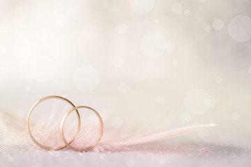Two Golden Wedding Rings and Feather - light soft background