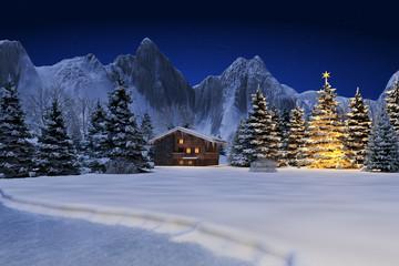 Schneelandschaft mit Hütte