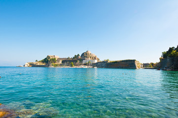 The Old Fortress of Corfu in the distance, Greece.